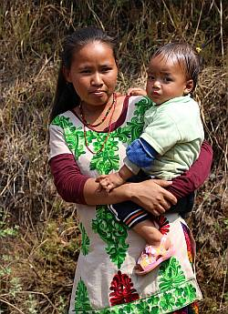 Nepal woman and child, Nagarkot
