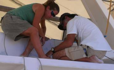 Jon and Amanda working to get the aft cockpit doors hung right