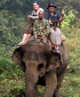 Jon and Amanda on elephant back