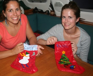 Painting Xmas stockings for Chris and Rachel