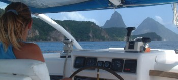 Amanda at the helm, off the Pitons