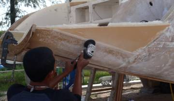 Baw smoothing a joint-line on starboard extension