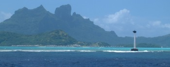 The reef and inner lagoon, with Bora Bora peak.