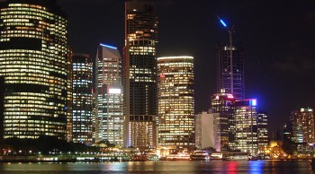 Our magnificent view of Brisbane at night