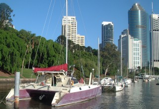 The Pilings, Botanical Gardens, & downtown Brisbane