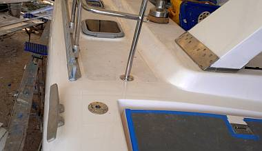 New location for our portside aft cleat, outboard of the toe-rail