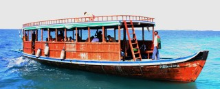"Our dive boat was a traditional wooden ""dhoni"""