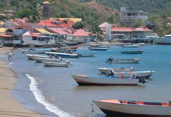 The colorful Saintes fishing fleet at anchor