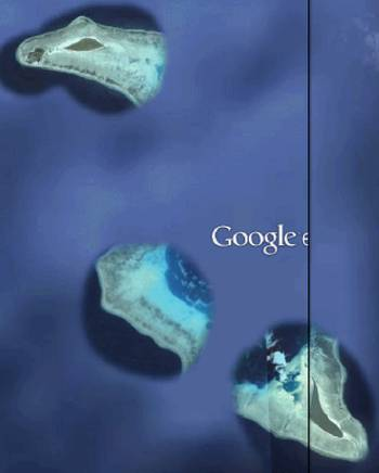 Extensive reef and island system disappearing into Google's fog in SE Indonesia