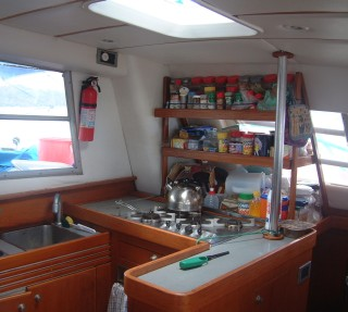 Our galley, showing the custom shelves built in Venezuela.