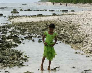 Young girl on the beach, Hithadhoo, Addu Atoll, Maldives