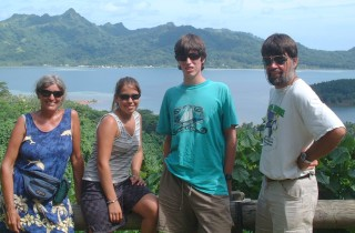 The Fearsome Foursome at a viewpoint in Huahine, French Polynesia, March 2004.