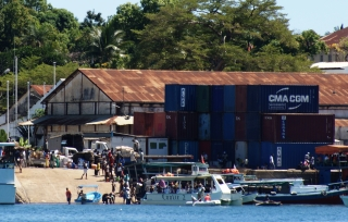 No place for a dinghy: busy Hellville Docks, Madagascar