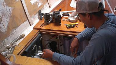 Heru ripping out the old port forward bilge pump