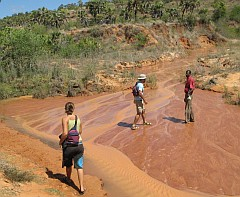 Madagascar's red earth flowing en route to Tsingy Rounge