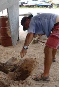 Digging a hole to remove port rudder