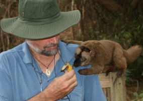 Jon with a wild lemur in Mayotte