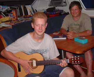 Kenny (with Amanda's guitar) and his dad Casey
