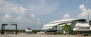 The fancy Krabi Boat Lagoon Marina offices and travel-lift