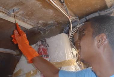 Lek filling the holes caused by decoring in the salon ceiling