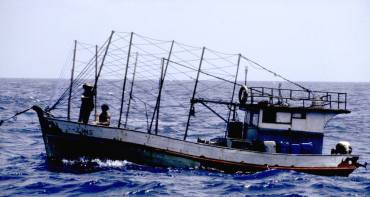 One of many lobster boats off the Brazilian coast