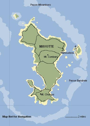 Map of Mayotte, Comoros Islands. Not for navigation.
