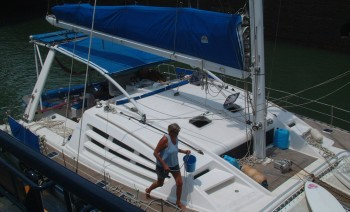 Our original cloth bimini and support bars (Panama, 2003)