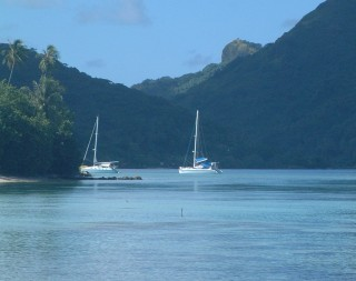 Ocelot at anchor off Fare in Huahine