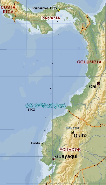 Our track from Panama to Manta, Ecuador, past Columbia