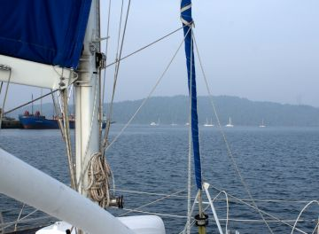 Entering the anchorage at Port Blair, Andamans