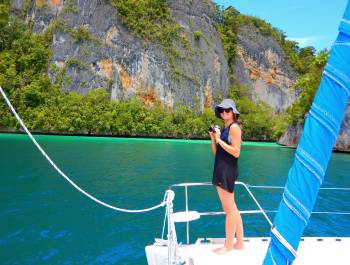 Rachel enjoying Semisarom Passage, Triton Bay