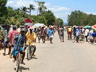 Busy town on the main road of N. Madagascar