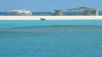 Sandy Island, with a powerboat wreck