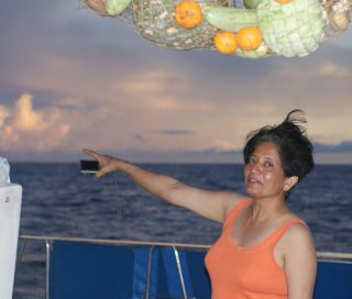 Shantha, quick to point out squalls or sunsets on the Indian Ocean