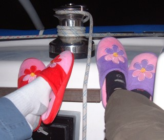 The girls often wore slippers for night watch