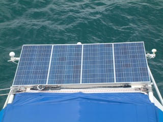 Ocelot's solar array, mainsail track, & twin GPS receivers
