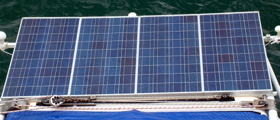 4 120W solar panels fit nicely above the davits, and aft of the mainsail track
