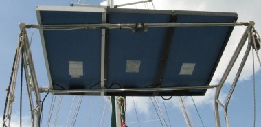 Basic mount above davits on a monohull