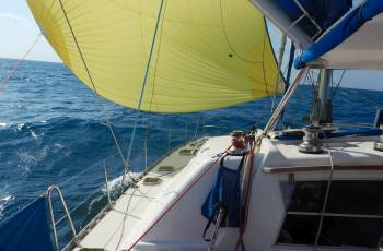 Indonesia DOES get wind!  Spinnaker to Belitung