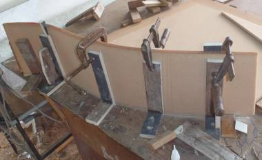 Bonding a new, curved step front onto a starboard step