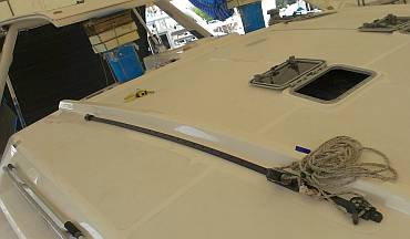 Starboard jib-sheet track mounted on the cabin-top!