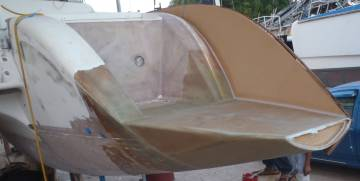 Starboard transom extension with skin of outer wall in place