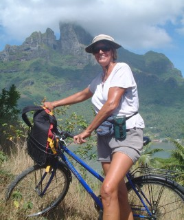 Sue with the central peak of Bora-Bora