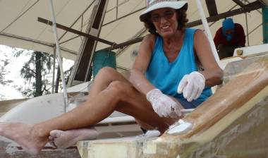 Sue filling in reinforcement holes with fiberglass & epoxy
