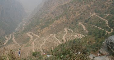 Our road to the trail-head for our Langtang trek