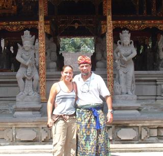 Amanda and Jon in a Balinese temple.