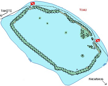 Toau Atoll, showing our tracks and 2 anchorages
