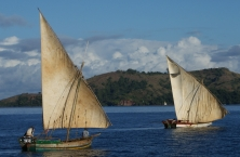 Two dhows off Sakatia, Madagascar.