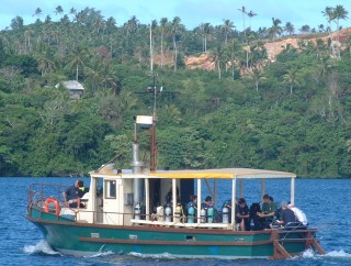 The dive boat from Dolphin Pacific Diving passes Ocelot on the way to the wreck